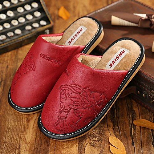 Cotone fankou pantofole inverno giovane indoor home calda pelle PU impermeabile mezza pack con femmina spessa scivolose home scarpe Wassermelone rot