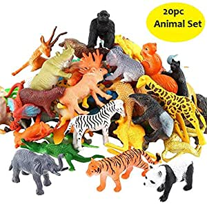 SaleOnTM 20pc Wildlife Model Children Puzzle Early Education Gift Mini Jungle Animal Toy Set Realistic Animal Figures Toys for Kids , Animal Toy Set Play for Kids (1215)