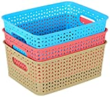 #9: Classsware™ Storage baskets for Kitchen, Office, Bedroom, BathRoom Set of 3 (Random Color)