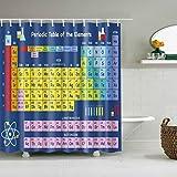 GWELL Duschvorhang Periodensystem Chemie Wasserdicht Anti-Schimmel inkl. 12 Duschvorhangringe für Badezimmer 180x200cm Muster-B