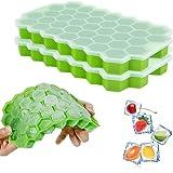 Vockvic Silikon Eiswürfelform mit Deckel 2 Stück, BPA Frei Eiswürfelbehälter DIY Ice Cube Makers voor Babynahrung, Getränke,