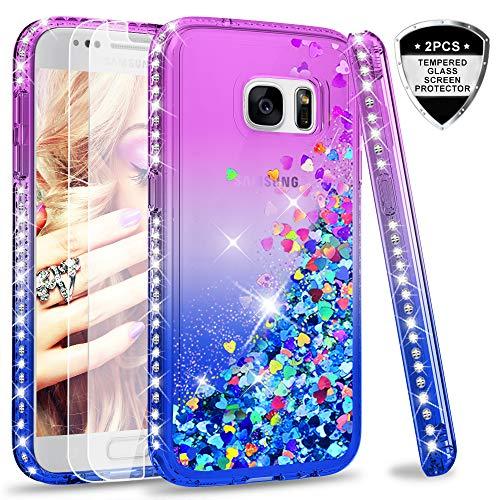 LeYi Hülle Galaxy S7 Glitzer Handyhülle mit Panzerglas Schutzfolie(2 Stück),Cover Diamond Rhinestone Bumper Schutzhülle für Case Samsung Galaxy S7 Handy Hüllen ZX Gradient Purple Blue (Für Case Samsung 2 Handy)