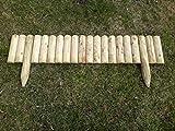 naturholz-shop 5X Steckzaun 100 cm Zaunhöhe 20 cm aus Holz für Beeteinfassung Rasenkante