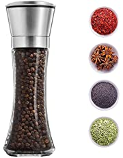 TOUA Stainless Steel 2 in 1 Dual Salt and Pepper Grinder with Adjustable Ceramic Mechanism (Silver)