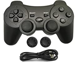 PS3 Controller Wireless, Joystick PS3 Gamepad Double Vibration 6-Axis Remote Joypad for Playstation 3 Console Giochi with Cha