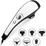 NURSAL Appareil de Massage électrique portable avec 6 têtes de massage, massage à percussion avec fontion de chaleur, soulagement des raideurs, des tensions, du stress et de la fatigue