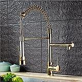 SADASD Moderne Kupfer Spüle Wasserhahn vergoldete Feder Keramik Ventil Warmes und kaltes Wasser Universal Gemüse Topf sitzen Taps