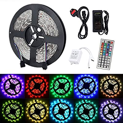 Noza Tec Ultra Bright Flexible Waterproof LED Strip light 5M / 300 LEDs Ideal for Car Styling,Bars, Restaurants,Gardens,Homes Office,Aircraft Cabin, DIY Party Decoration Ribborn