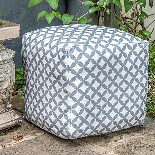 """Designer Wasserdicht marokkanischen Garten Outdoor Sitzwürfel/Sitzhocker-Grau & Weiß Bahia, """"Marrakech"""" Kollektion-Entworfen, bedruckt & Handarbeit in der UK"""