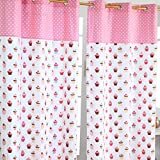 Homescapes Kindervorhang Mädchen Kinderzimmer Ösenvorhang Dekoschal Cup Cakes 2er Set pink blau 137 x 228 cm (Breite x Länge je Vorhang) 100% reine Baumwolle
