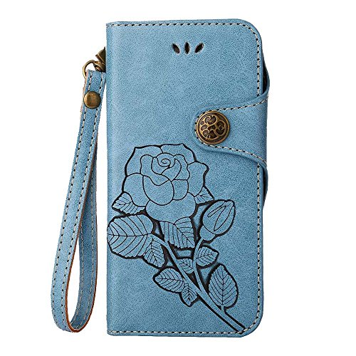 Custodia iPhone 6 Plus / 6S Plus, COOSTOREEU Retro Embossed Roses Magnetic Slotted Wallet Case+ Cinghia di Polso Smontabile Progettazione per Apple iPhone 6 Plus / 6S Plus, Blu Blu