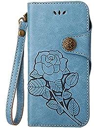 Funda iPhone 6 Plus / 6S Plus, Retro Floral en Relieve Florals PU Leather Flip Cartera Magnética con Ranuras de Tarjeta + Desmontable Correa de Muñeca Diseño de la Caja para Apple iPhone 6 Plus / 6S Plus, Azul