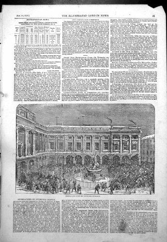 Original old antique victorian print Antiker Druck von ausweitenden Liverpool-Austausch-Baumwollwertpapierhändlern 1854