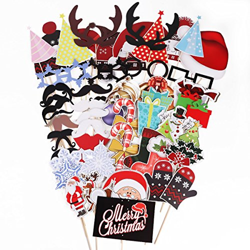 61 Tlg. Party Foto Verkleidung Schnurrbart Lippen Brille Hüten Photo Booth Props Set Weihnachten Christmas Partymitbringsel Party Dekoration Schmuck (Masken Weihnachten)