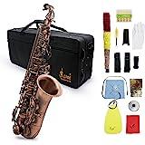ammoon Profesional Red Bend Bronce Eb E-flat Alto saxofón Abulón Shell Dominante Patrón Carve con el Caso Guantes Paño de Lim