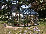Gartenwelt Riegelsberger Gewächshaus Uranus - Ausführung: 8300 ESG 3 mm dunkelgrün, Fläche: ca. 8,3 m², mit 4...