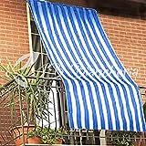 Paar Vorhänge Sonnenbrille für Outdoor aus Stoff gestreift mit Ringe für Balkon, Terrasse, Haus–cm 150x 250–Blau