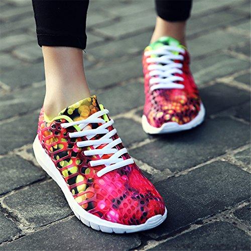 Damen Bunt Turnschuh Sportschuhe Laufschuhe Turnschuhe Straßenlaufschuhe Sneaker Trainer die Fitness Rose