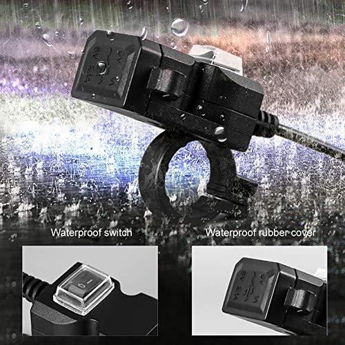 Lispeed Spina di Ricarica USB Doppia Impermeabile per Barca Moto Auto, Interruttore Magnetico Moto Caricabatterie USB - Evitare Il consumo della Batt