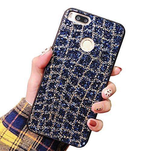 Obesky Glitzer Hülle für Xiaomi Mi 5X / Mi A1 Blau, Luxus Bling Pailletten Diamant HandyHülle Ultra Dünn Weich TPU + Hart PC Rückschale Kratzfeste Anti Rutsch Schutzhülle