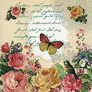 Ideal for Decoupage//Napkin Art CraftyThings 4 x Paper Napkins Leaves on Letter