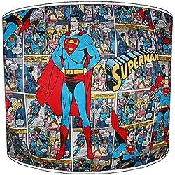 Premier Lampshades lámpara de mesa Superman cómic Shades, metal papel, azul, 30,5 cm