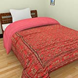 AMZ Jaipuri Light Weight Pure Cotton Traditional Rajasthani Red Color Satin Silk Quilt (Double Bed (90 X 100 Inches))