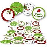 48 runde grün rot weiß Frohe Weihnachten Aufkleber Geschenkaufkleber Verpackung weihnachtlich Sticker für Geschenke Weihnachtsaufkleber Text