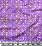 Soimoi Purpura Jersey de algodon Tela estrellas de mar, medusas y la tortuga Oceano estampada de tela por metro 58 Pulgadas de ancho