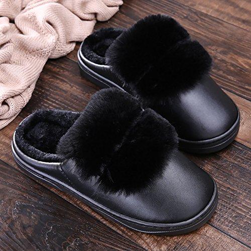 Icegrey Unisexe Hiver Chaussons Chaud Pantoufles Antidérapants Intérieur Peluche Chaussures de Maison Noir