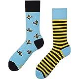 Many Mornings Bee Bee Calcetines multicolores con abejas, algodón, miel, colmena, rayas