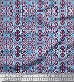 Soimoi Blau Seide Stoff Damast ethnisch Dekor Stoff