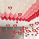 Party Propz Glitter Stars & Tinsel Curtain Hanging Balloon Swirls 72Pcs Ceiling Decorations - red (Balloons Not Included)/ Ba