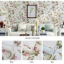 Papel pintado flores vintage - Papel pintado amazon ...