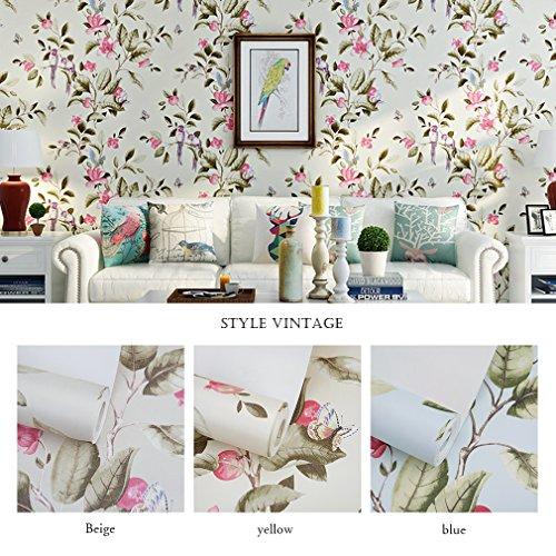 kinlor-053-10m-3d-flocado-papel-pintado-rural-del-flores-mariposas-pajaros-beige
