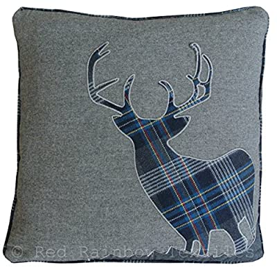 Tartan Stag 18 Inch Navy Blue & Grey Cushion Cover Soft Woven Tweed Fabric