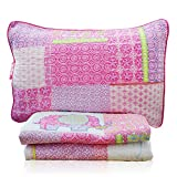 Accface 2-Piece Pink Elephant Quilt Set Girls Kids Bedding Set Twin Size