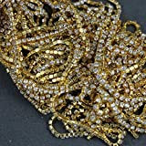 bayee 2mm x 10Yard strass Chaîne Fermeture Transparent Garniture à coudre Craft couleur or pour mariage, bricolage, Couture