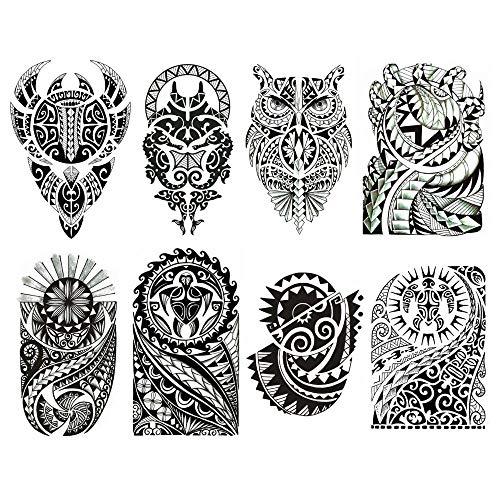 Set di 8 differenti tatuaggi temporanei maori neri / tahiti / tribali / applicabili su pelle su diversi parti del corpo / tatuaggio nero rimovibile impermeabile body art / schiena / spalla