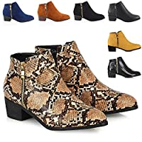 Womens Ladies Low Heel Block Cowboy Style Ladies Gold Zip Western Ankle Boots Size 3-8