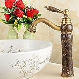LHbox Bad Armatur in Bad für Waschbecken Waschtisch Wasserhahn Waschtischarmatur Euro-Kupfer Jade Kalten Wasserhahn Antik gebürstetes Die Hohe Waschbecken Wasserhahn 4