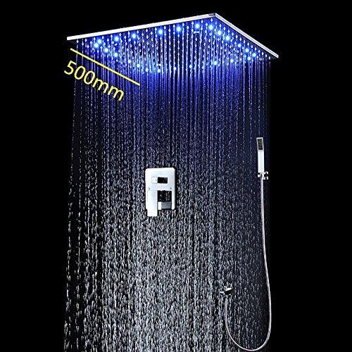HM LED Dusche Set mit 50,8cm, gebürstet, Dusche Head System mit Wasserhahn und Handbrause verchromtem Finish (Kohler Handbrause-sets)