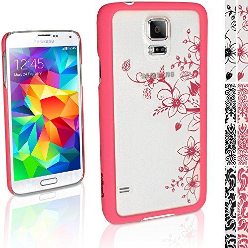 """igadgitz """"3D Designer Collection'' Pink Blumen Muster Hart Tasche Hülle für Samsung Galaxy S5 SV SM-G900 + Display Schutzfolie"""