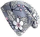 Wollhuhn ÖKO Long-Beanie, Wende-Mütze, ganzjährig, Sakura Blüten grau/rosa, Innenseite Uni grau, für Mädchen (aus Öko-Stoffen, Bio), 20170815, Größe M: KU 52/54 (ca 3-7 Jahre)