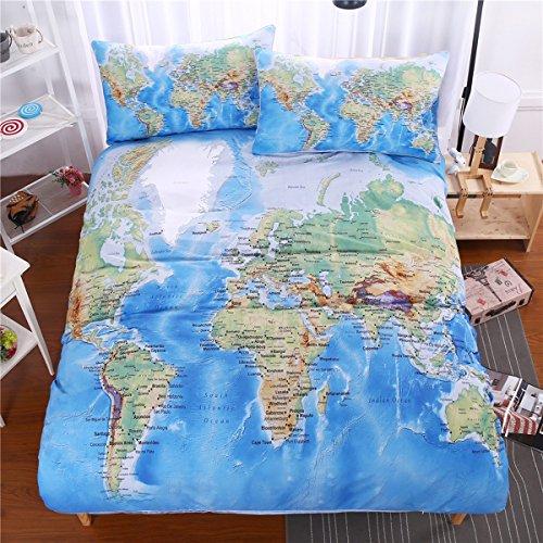 aoeiuv Weltkarte Bettwäsche Schlafzimmer, Bettwäsche 3pcs, 1 Bettbezug, 2 Kissenbezüge, Doppel Bettwäsche-Set, Jugendliche Erwachsene Bettwäsche, König (König Bettbezug Bettwäsche-set)