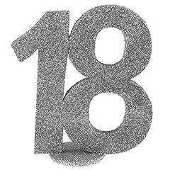 Idea Regalo - Santex 4752–18, decorazione a forma di numero, verticale, per il 18° compleanno, colore: argento
