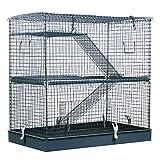 Pawhut 3-Level Metal Hamster Cage Small Animal Rat Rodent Pet Hutch Ferret Chinchilla