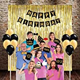 #10: PARTY PROPZ HAPPY BIRTHDAY COMBO INCLUDES 3 GOLDEN FOIL CURTAINS, 1 HAPPY BIRTHDAY BANNER, 1 SET OF BIRTHDAY PHOTOBOOTH, 24 PCS GOLDEN & BLACK LATEX BALLOON/ HAPPY BIRTHDAY PARTY SUPPLIES/ HAPPY BIRTHDAY PARTY DECORATION