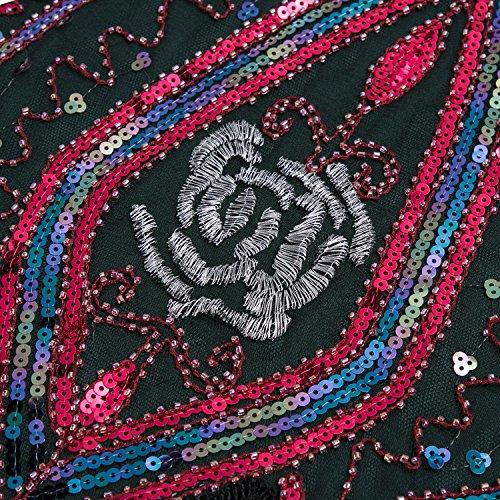 Metme Damen der 1920er Jahre Vintage Fringe Perlen großer Gatsby Partykleid Schwarz + Rot