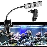ONEVER Lampada di serbatoio di pesce della lampada del morsetto dell'acquario, modo 2 blu e bianco, 1.5W 24 condotto con la spina dell'UE